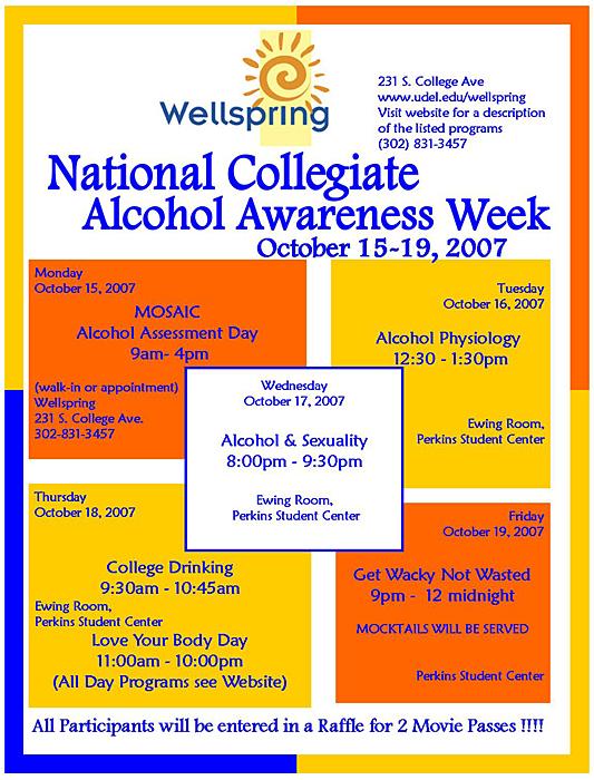 Alcohol awareness activities Oct. 15-19