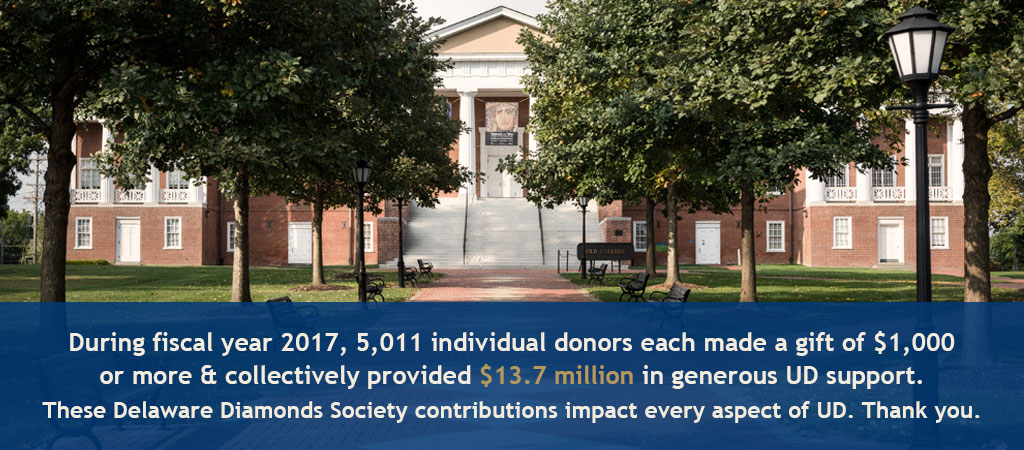 During fiscal year 2017, 5,011 individual donors each made a gift of $1,000 or more and collectively provided $13.7 million in generous UD support. These Delaware Diamonds Society contributions impact every aspect of UD. Thank you.