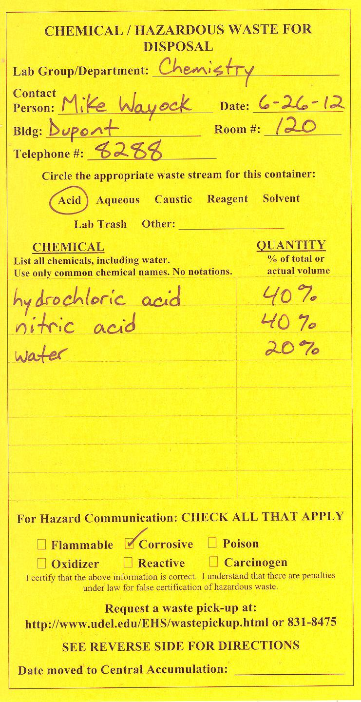 Chemical Waste Label