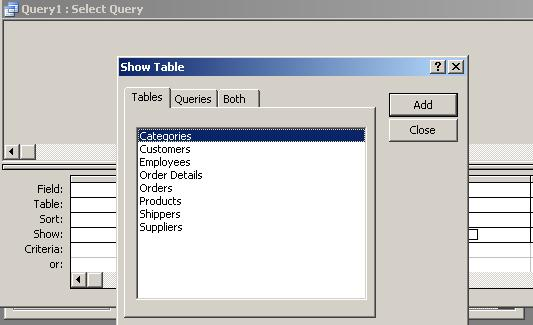 For practice using sql commands in ms access for Table design grid access
