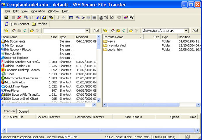 File Transfer window