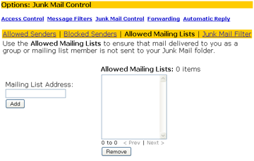 mailing list exemptions window