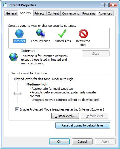 reset ie advanced settings