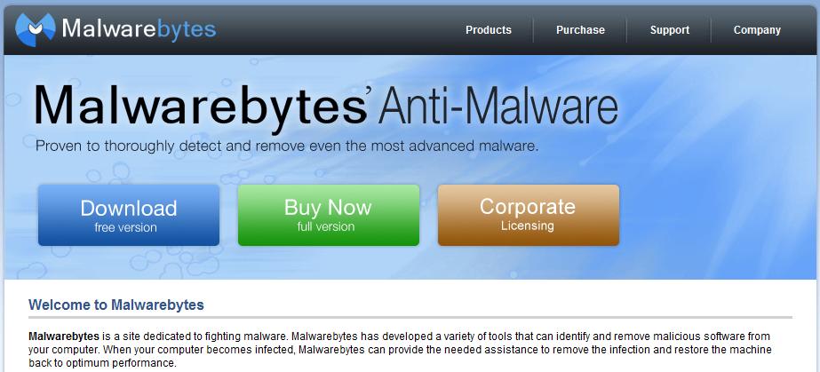 malwarebytes' home page