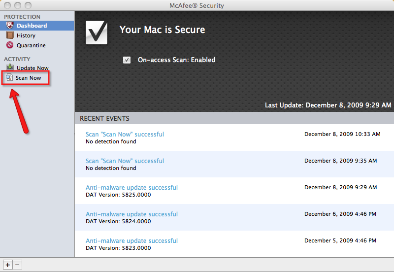 McAfee Security Mac scan