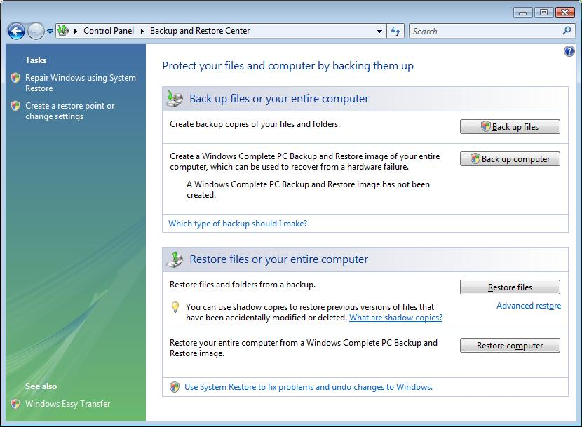 backup center dialog box