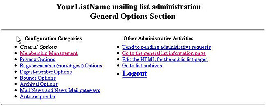 mailing list administration options