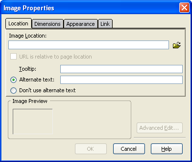 image properties dialog box