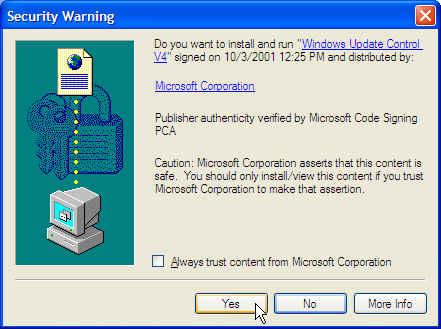 Updating Windows XP