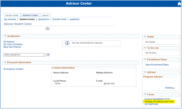 Access from Advisor Center