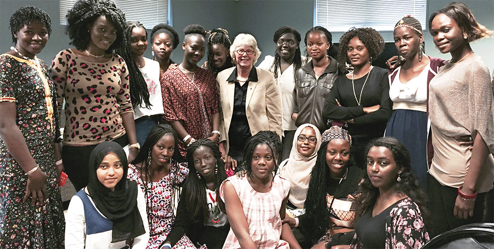 UD Acting President Nancy Targett met with these young women from Sub Saharan Africa.