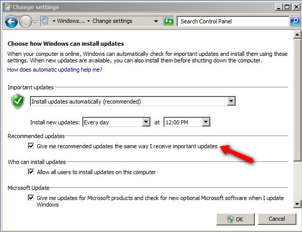 cancel auto updates windows 7