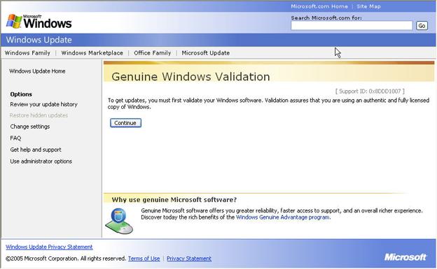 windows validation update