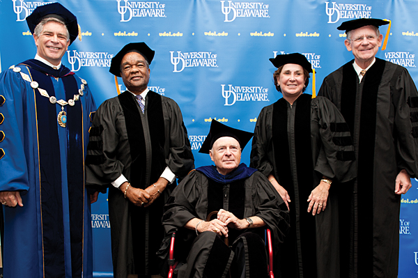 From left, UD President Patrick Harker with honorary degree recipients David C. Driskell, Richard F. Heck, Carol A. Ammon and Michael N. Castle.