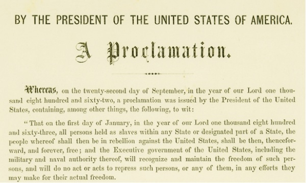 1809-1865  A Proclamation  known as the  quot Emancipation Proclamation    Emancipation Proclamation Speech