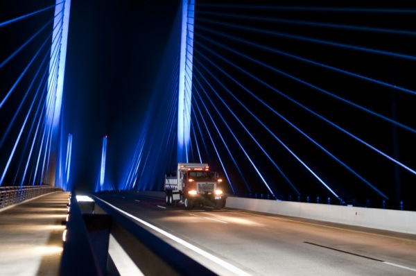 A truck makes its way over the Indian River Inlet bridge as UD researchers collect data on the span's structural health.