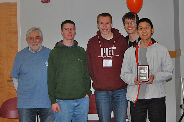 Pictured are (from left) team coach David Saunders and members Ryan McKenna, Andre Marianiello, Alex Stachnik and Kahn Duong.