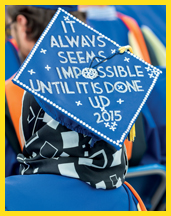 Student title page-image of student's mortar board with words: it always seems impossible until it is done. UD 2015