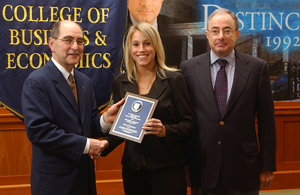 student being awarded the Donald J. Puglisi Scholarship
