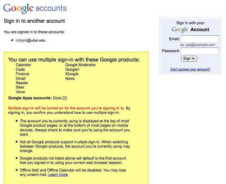 change google default account