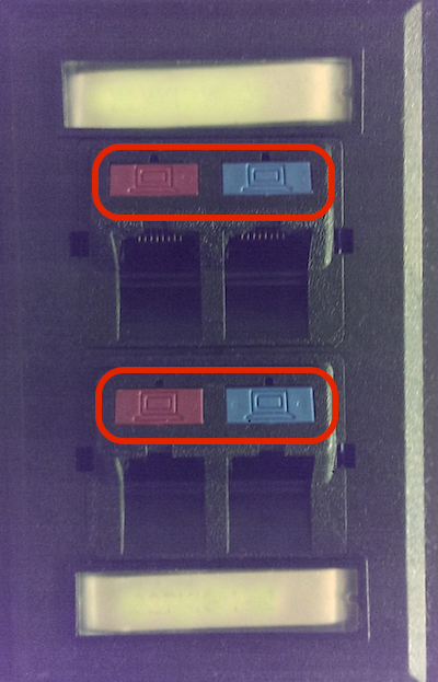 Ethernet jacks in faculty office: in this case, two rows of two jacks