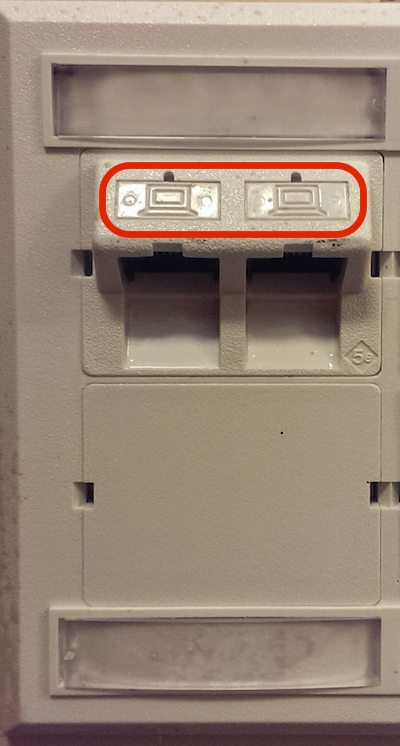 Ethernet jacks in Thomas McKean Residence Hall, in this case, one row with two jacks.