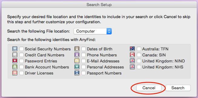 Search setup dialogue with Cancel button available